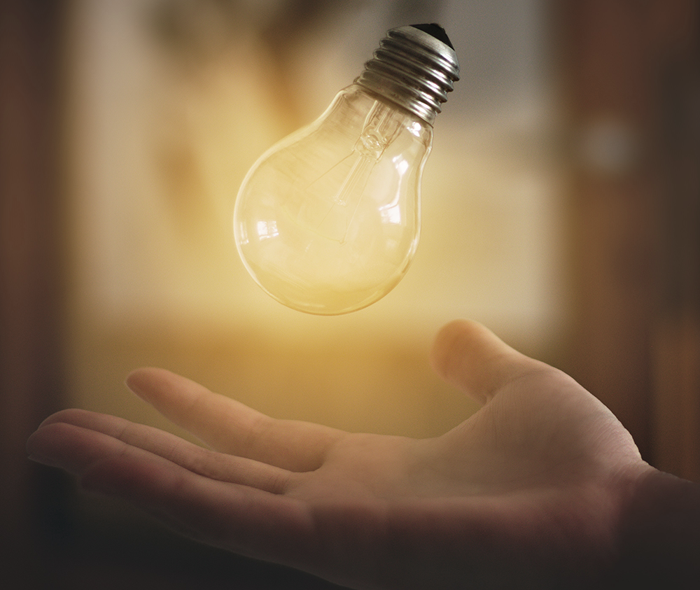 Safe Accessible Solutions blog - Thirty hilarious, insightful, and profound highdeas. Photo features a floating light bulb.
